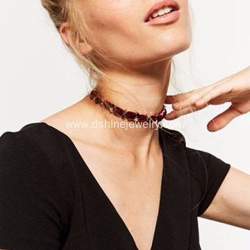 Layered Chain Velvet Choker Golden Stars Necklaces For Bride