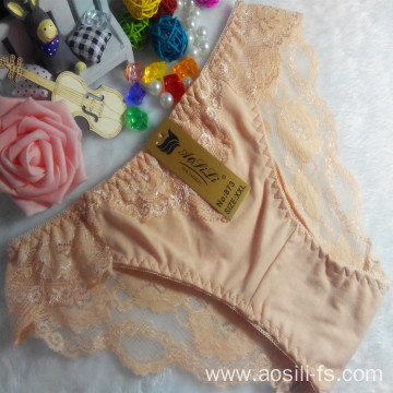 OEM wholesale cheap apricot hot sexy girls panty comfortable lace cotton high level fancy underwear 873