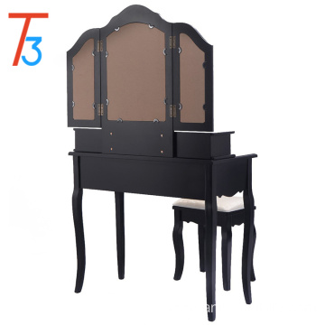 Tri folding mirror wood table dresser furniture 4 drawers stool