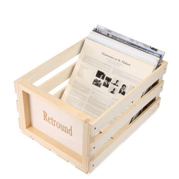 Wood Vinyl Stackable Record Album Shelf 50-70 Albums Record Storage Crate Retro Disc Box Cube