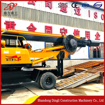Wheel pile driver for road construction
