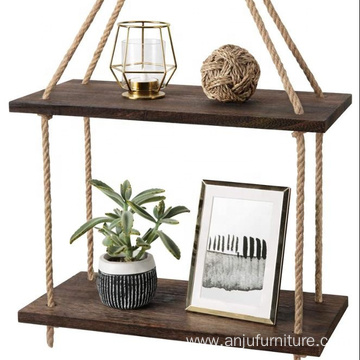 2 Tier Jute Rope Organizer Rack Floating Shelf Wall Swing Storage Shelves Wood Wall Hanging Shelf