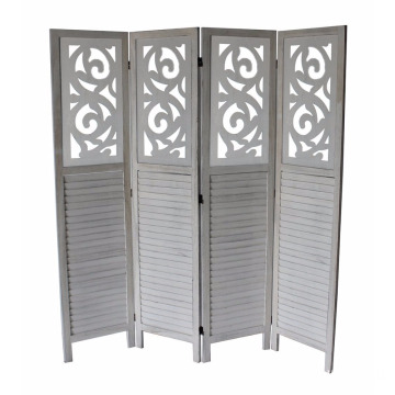 China for Folding Screen Room Divider 180*45CM 4 panel White finish solid room dividers supply to Zimbabwe Wholesale