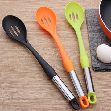 Slotted spoon steel handle nylon kitchen tools