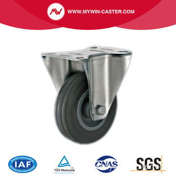 Gray Rubber Fixed Industrial Caster Wheels
