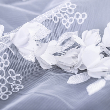 Pure White 3D Flower Lace Embroidery Fabric