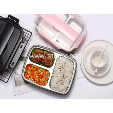 304 stainless steel square four compartment lunch box