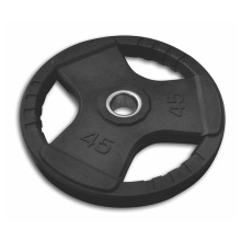 45LB Black Tri-grip Rubber Coated Olympic Weight Plate