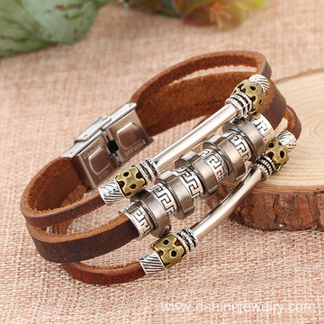 New Punk Charm Leather Bracelet Alloy Men Leather Bracelet