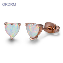 Heart Shaped Natural Opal Stud Earrings