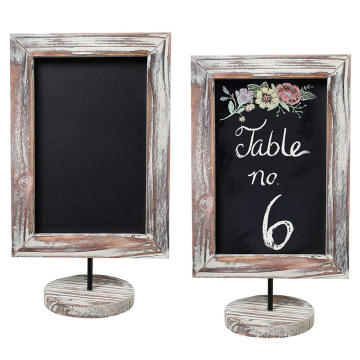 12-Inch Rustic Torched Wood Framed Tabletop Memo & Message Chalkboard