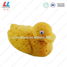 Yellow 3D duck shape bath sponge