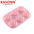 6 koppar Medium Rose Silikonbröd Muffin Pan