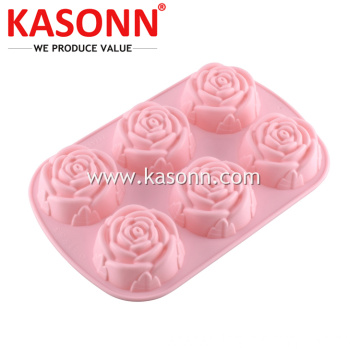 6 Piala Medium Rose Silicone Bread Muffin Pan