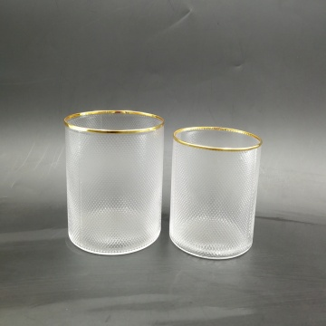 Hand Blown clear glass candle holder with gold rim