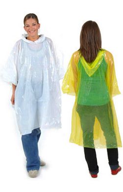 Plastic Rain Poncho Disposable With Golfball