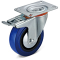 Elastic Rubber Flat Bottom Integral Double Brake Casters