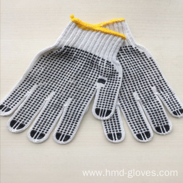 Bleached White PVC Dotted Hand Gloves
