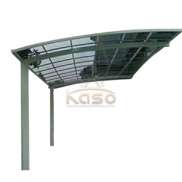Flat Roof Deck OnTop Curved Carport With Gutter