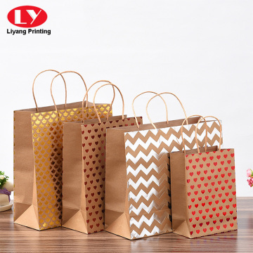 foil stamping kraft paper bag printed with handle