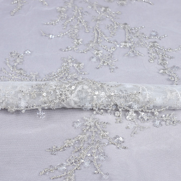 Latest coming out beads embroidery polyester mesh fabric for long dress and bridal dress
