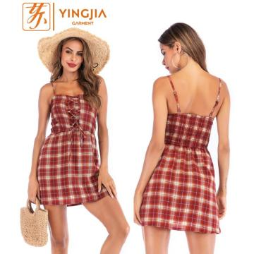 Summer Plaid Strap Dress Backless Lace Short Dress
