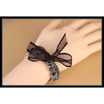 Multi Layers Shiny Rhinestone Band With Ribbon Knot Bracelet