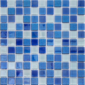 blue shiny color crystal glass mosaic