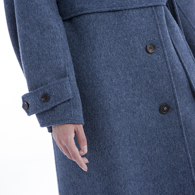 Cashmere overcoat single-breasted blue