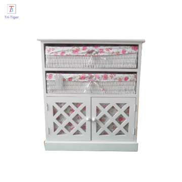 2017 Living Room Cabinets caoxian willow basket Small Wooden Cabinet with Drawers