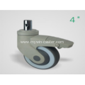 4 Inch Solid Stem Swivel TPR PP Material With Bracket Medical Caster
