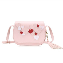 Three-dimensional love and tassel decoration shoulder bag