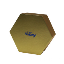 Gold Two Pieces Hexagon Cardboard Folding Gift Box