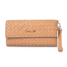 Yellow Weaved Cowhide Leather Female Long Clutch Wallet