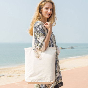 Leisure Canvas Beach Tote Bag with Zipper