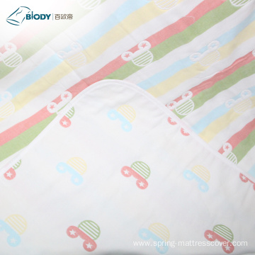 White Print Organic Cotton Baby Multilayer Blanket