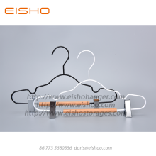 Factory source for Wooden Clothes Hanger,Suit Hanger,Wire Coat Hangers Manufacturers and Suppliers in China EISHO Kids Wood Metal Hanger With Clips supply to India Exporter