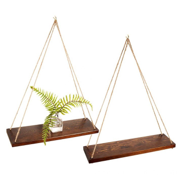 Station Rustic Style Walnut Color Hanging Swing Rope Floating Shelves for Wall