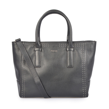 Women Voyager Small Crossgrain Leather Tote Bag