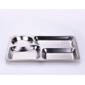 Four Compartment Stainless Steel Plate
