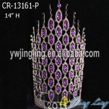 "Reliable for China Angel Wing Shape Beauty Pageant Crowns and Tiaras, Glitz King Crowns. 14"" Purple Crystal Rhinestone Baroque Crown Bridal export to France Metropolitan Factory"