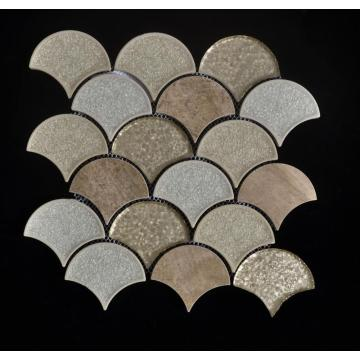 Sector Shape Porcelain Mix Glass Mosaic