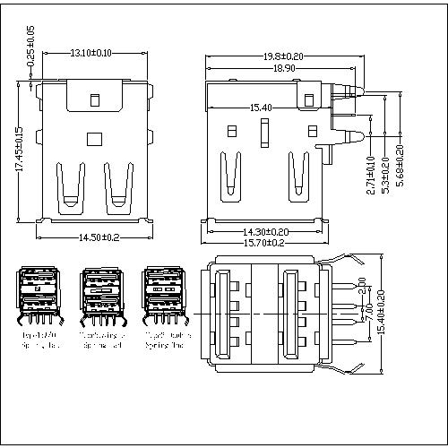 UAFR05 5-USB A Type Receptacle Double Stack Angle DIP