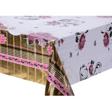 metallic pink tablecloth with Silver/Gold