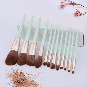 10pcs green Cosmetics brush set