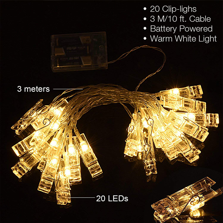 20leds photo clips string lights