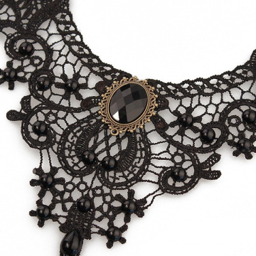 Pearl Black Lace Necklace Gothic Bridal Necklace