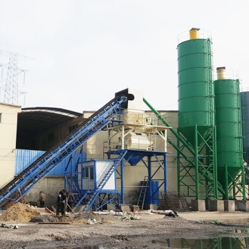 HZS90 ready mix belt conveyor concrete batching plant