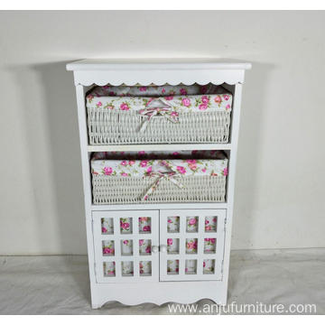 white solid wood storage cabinet with wicker drawers willow basket