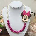 Children Choker With Big Fabric Animal Charm Pearl Necklace
